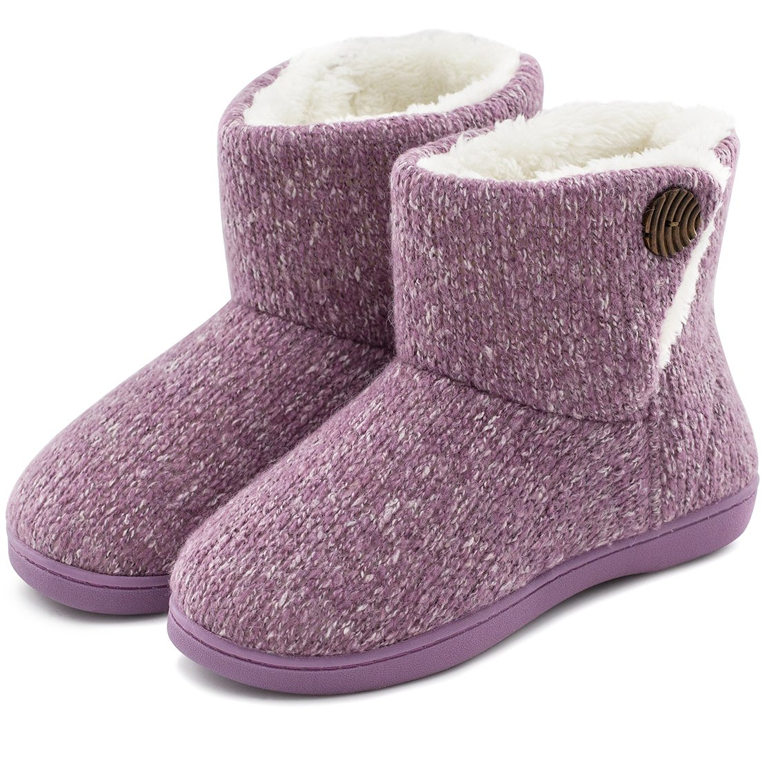 Women's Comfort Woolen Yarn Woven Bootie Slippers Memory Foam Plush Lining Slip-on House Shoes w/Anti-Slip Sole Indoor, Outdoor (Medium / 7-8 B(M) US, Purple)