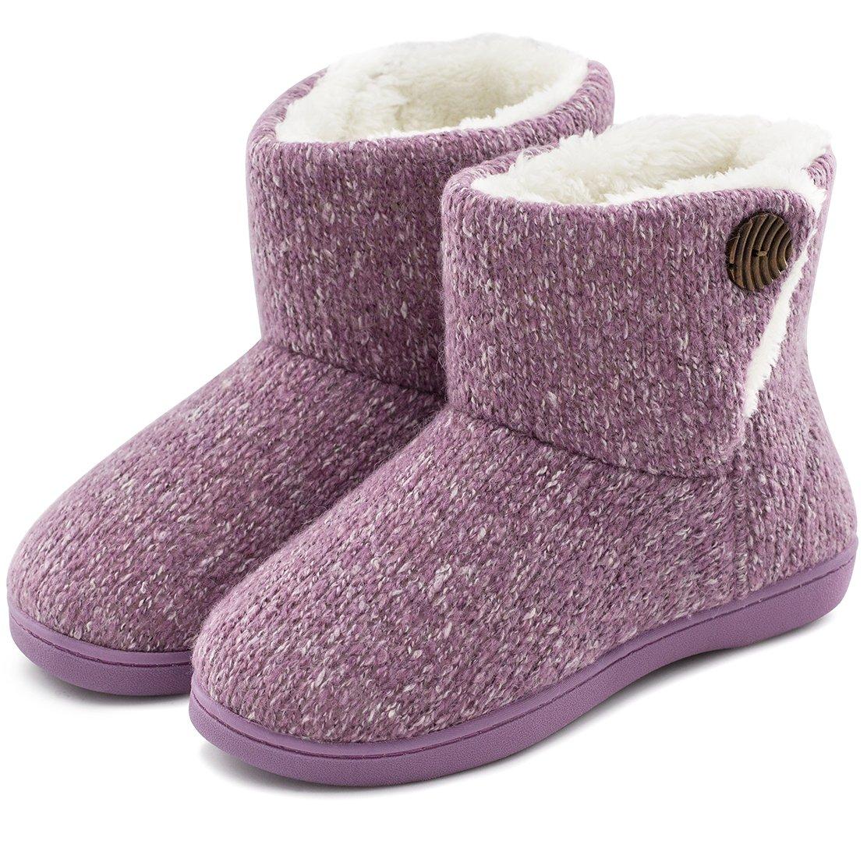 Women's Comfort Woolen Yarn Woven Bootie Slippers Memory Foam Plush Lining Slip-on House Shoes w/Anti-Slip Sole Indoor, Outdoor (Large / 9-10 B(M) US, Purple)