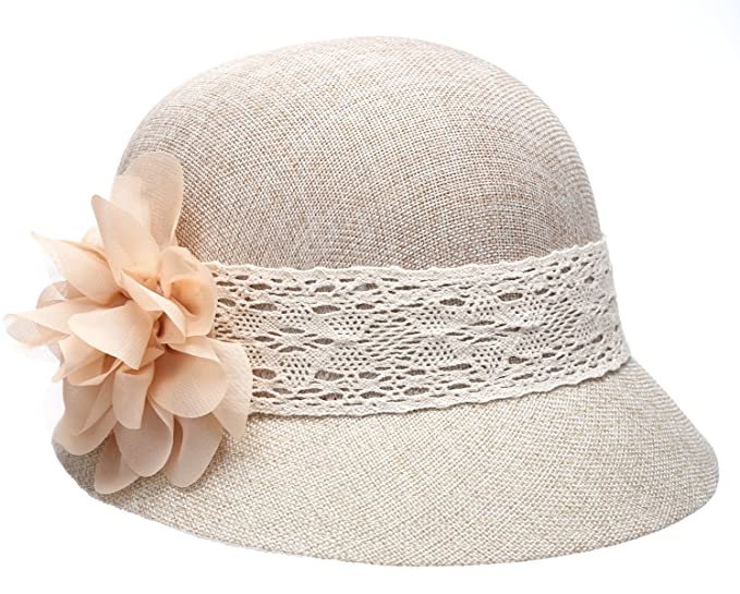 1920s Clothing Womens Gatsby Linen Cloche Hat With Lace Band And Flower $23.99 AT vintagedancer.com