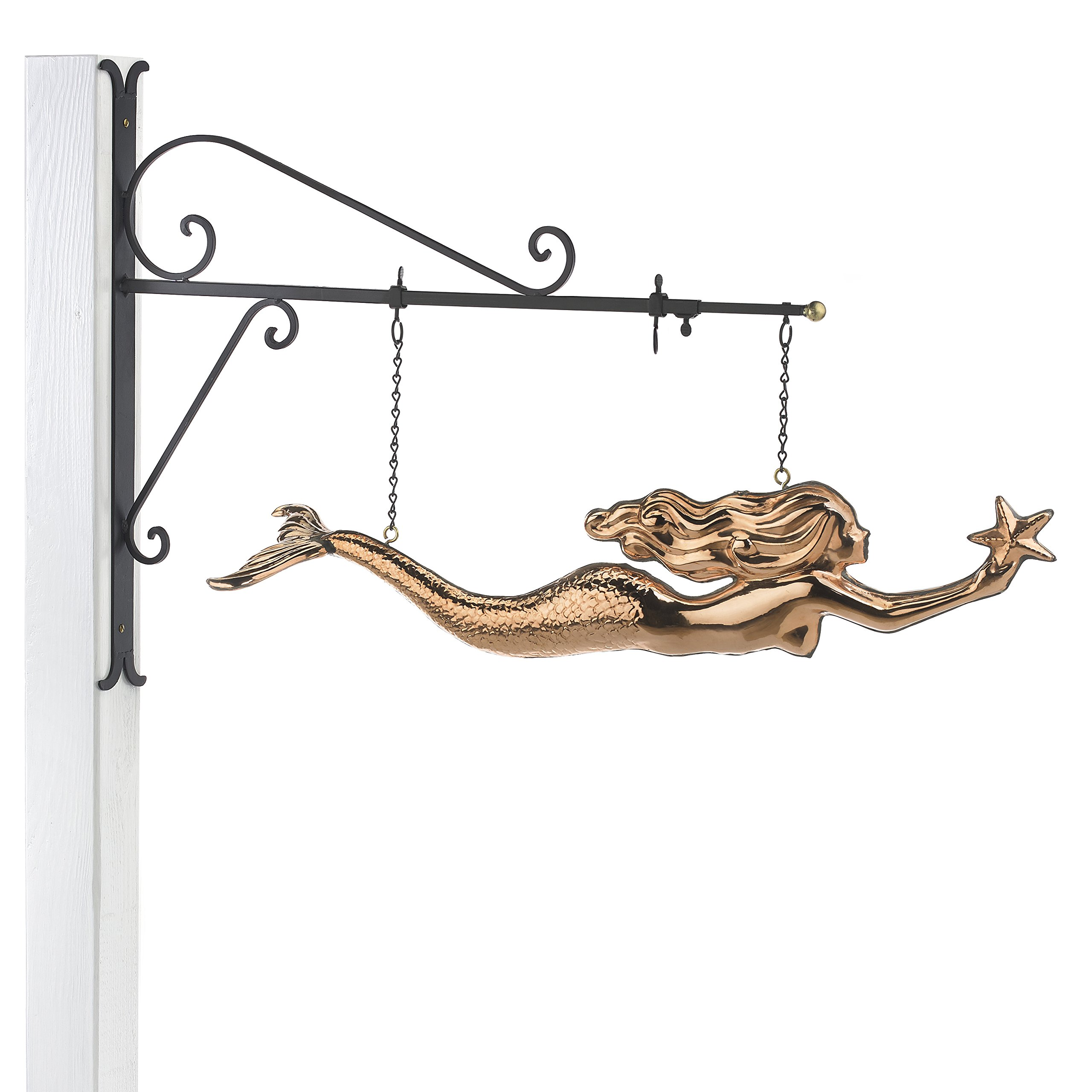 Good Directions Hanging Mermaid with Starfish Pure Copper Weathervane Sign Decorative Scroll Wall Bracket - Welcome Sign Home/Entrance/Entryway Décor