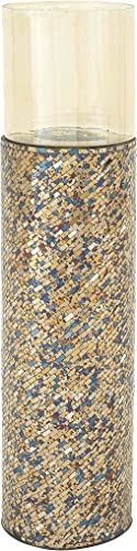 Deco 79 24018 Metal/Glass/Mosaic Candle Holder