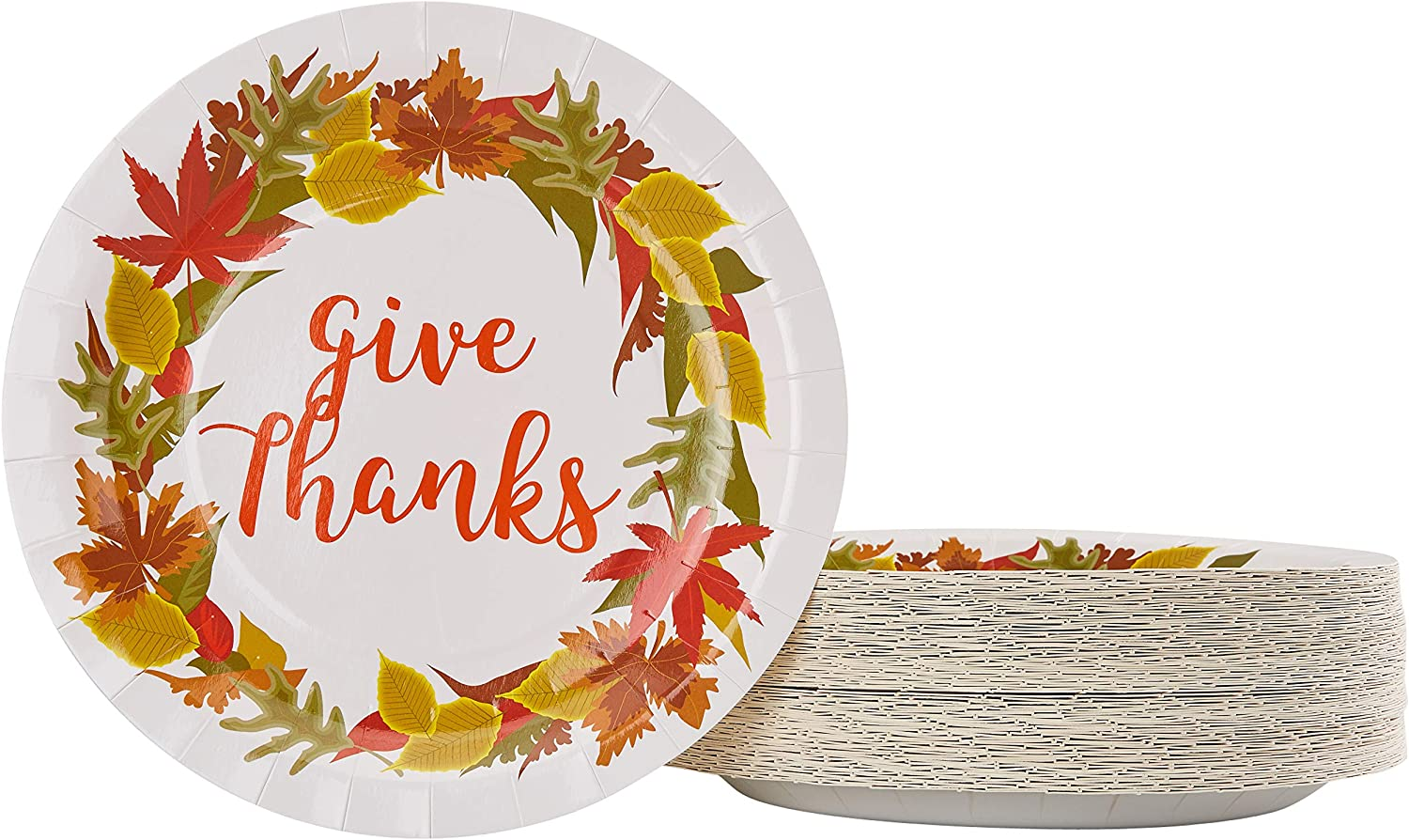 Disposable Plates - 80-Count Paper Plates, Thanksgiving Party Supplies for Appetizer, Lunch, Dinner, and Dessert, Kids Birthdays, Give Thanks Design, 9 x 9 inches