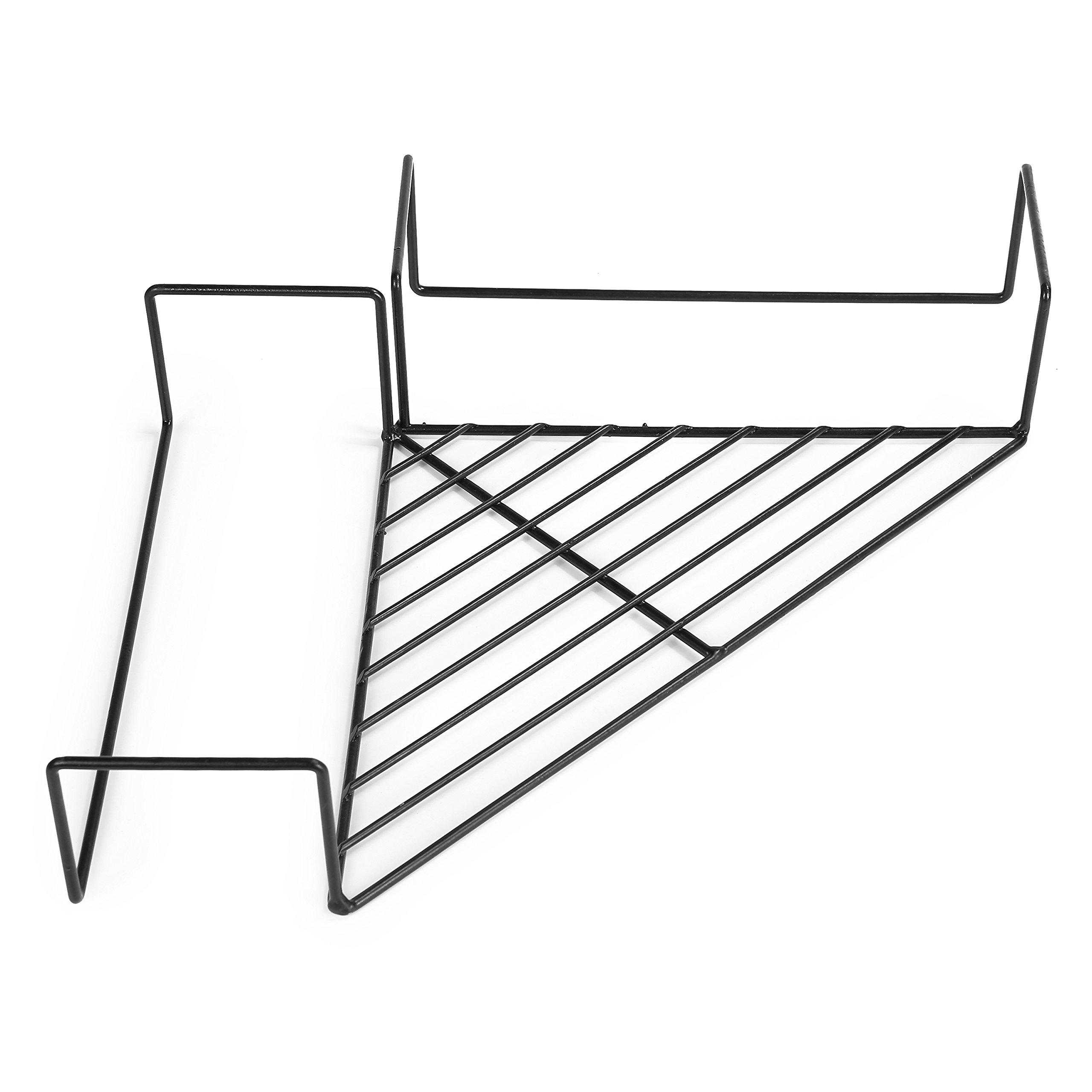 MyGift Metal Cubicle Corner Floating Shelf Organizer Rack, Black