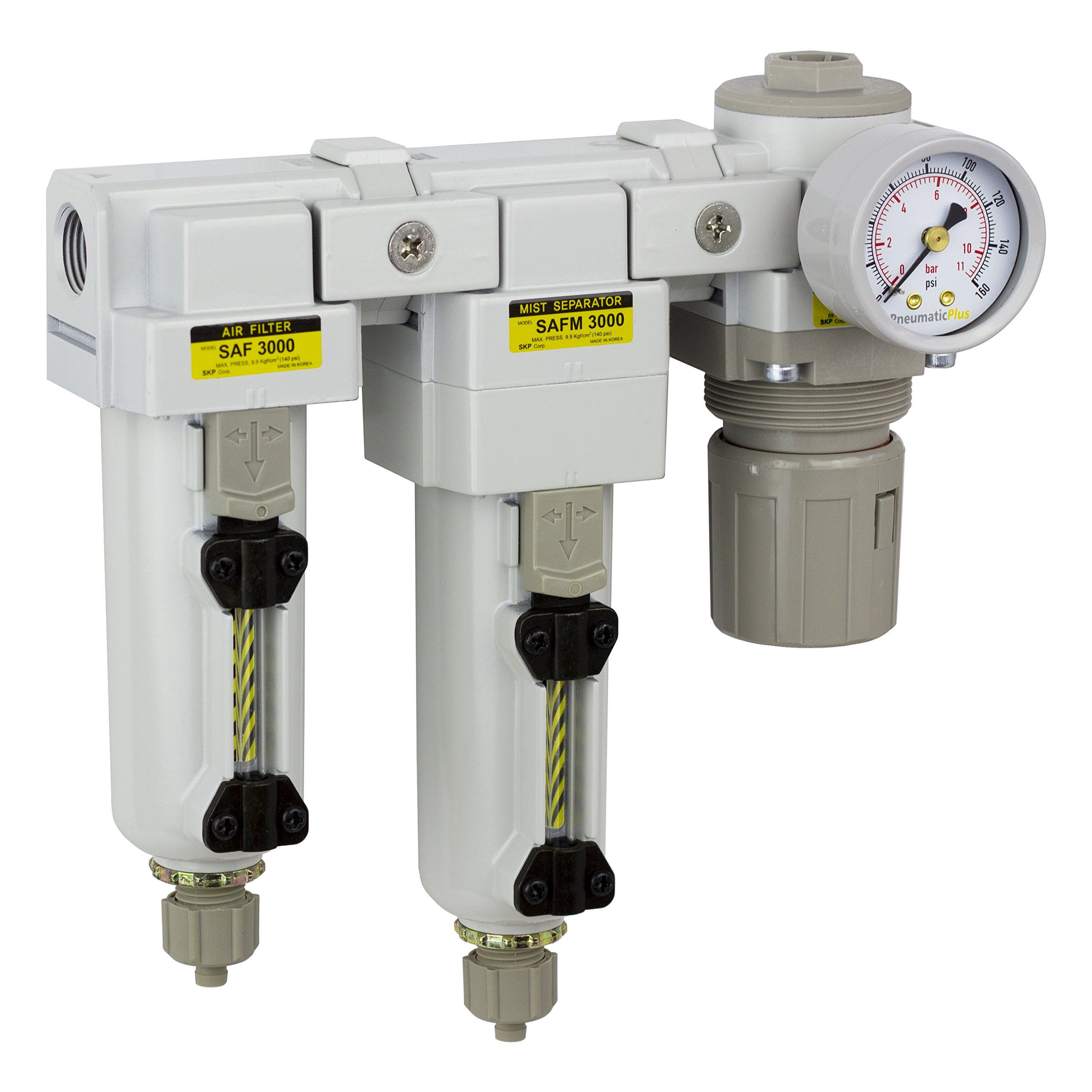 PneumaticPlus SAU3030M-N03G-MEP Three Stage Air Drying System - Air Particulate Filter, 0.3 Micron Coalescing Filter & Air Pressure Regulator Modular Combo 3/8'' NPT - Manual Drain, Metal Bowl
