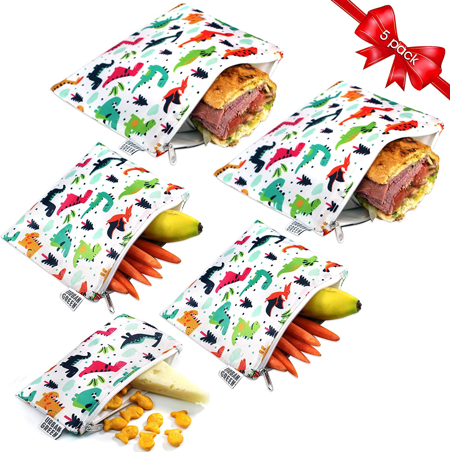 Reusable Sandwich Bags Snack Bags by Urban Green, Lunch Bags for kids, 5 pack, Food Storage Bags, Toiletry Makeup Bags, Food Wraps, Cable Travel Organizer, Accessory Bags (Colorful Dinosaur)