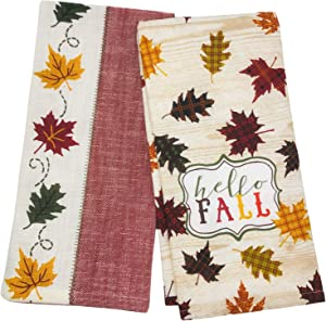 Kay Dee Designs Hello Fall Leaves Terry Towel & Tea Kitchen Towels Dishtowels, Set of 2 Fall Autumn Thanksgiving Kitchen Towels for Cooking, Cleaning, Drying, Baking, Fall Kitchen Decor