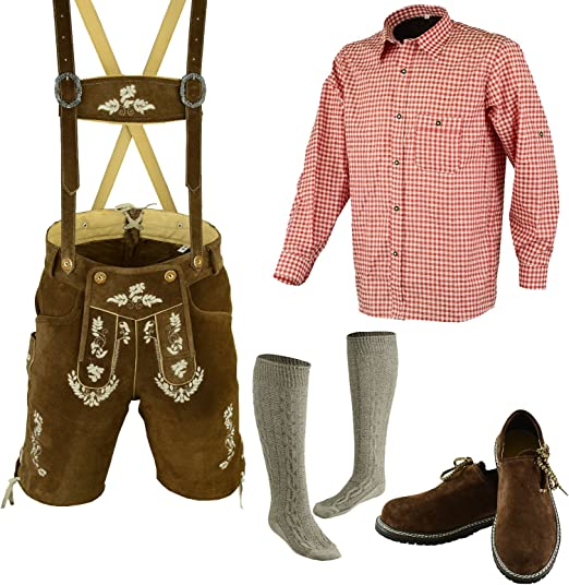 German Bavarian Trachten Oktoberfest Lederhosen 3 Colors Men Wear Leather Shoes