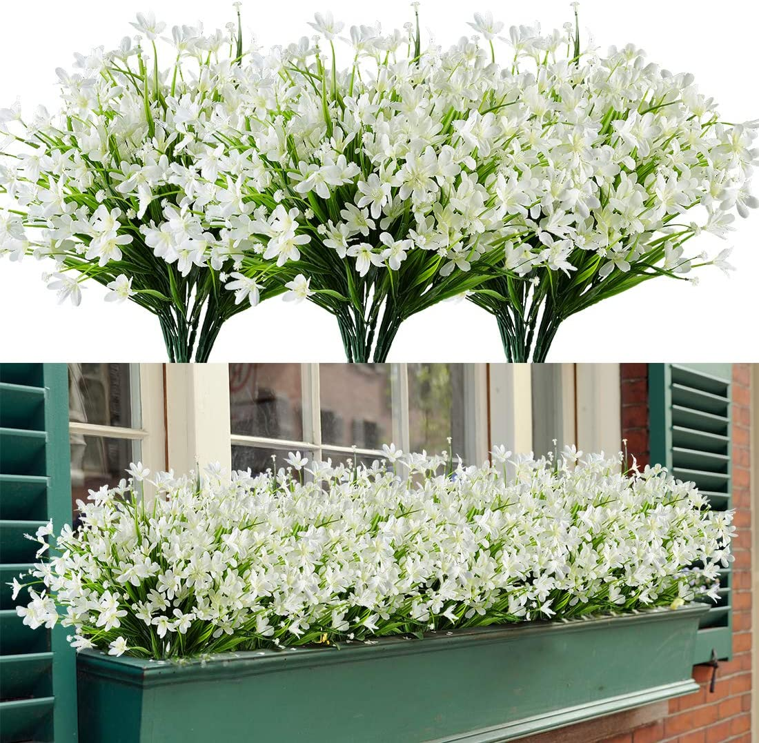HAPLIA 8 Bundles Artificial Daffodils Flowers, Fake Artificial Greenery UV Resistant No Fade Faux Plastic Plants for Wedding Bridle Bouquet Indoor Outdoor Home Garden Kitchen Office Table Vase (White)