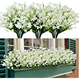HAPLIA 8 Bundles Artificial Daffodils Flowers, Fake Artificial Greenery UV Resistant No Fade Faux Plastic Plants for Wedding