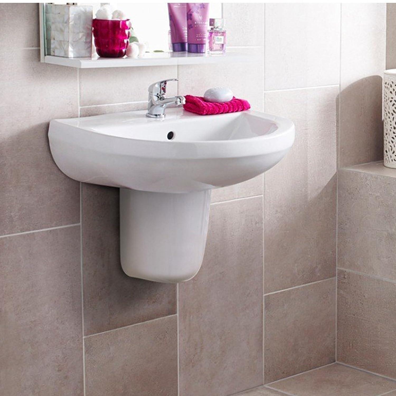 Modern Bathroom Ivo Ceramic 1TH Basin Sink with Semi Pedestal - Gloss White Finish Premier