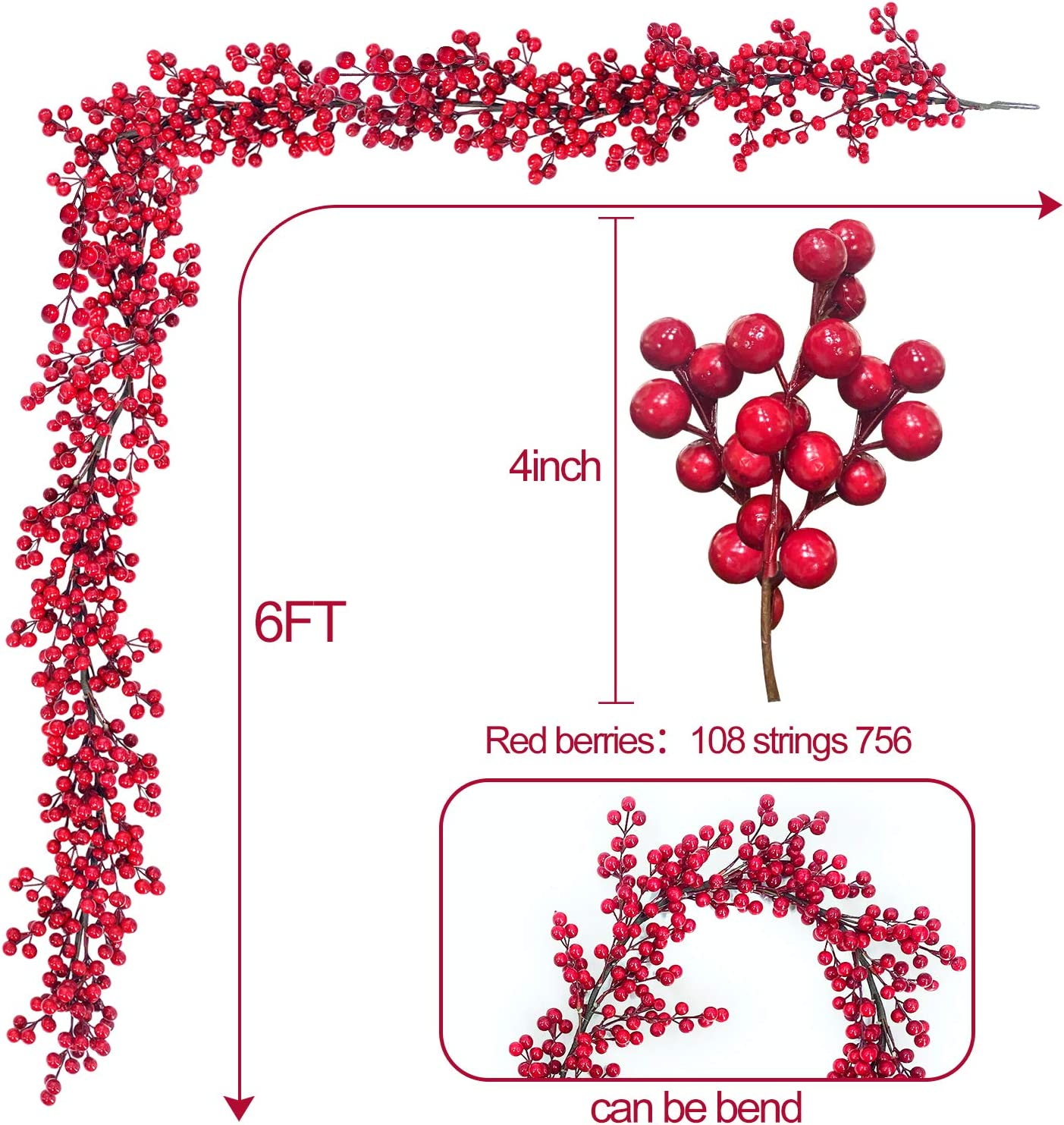 TURNMEON 6 Foot Christmas Red Berry Garland Christmas Decorations Wreath Xmas Decoration Indoor Outdoor Home Mantle Fireplace Holiday Christmas Tree Decor