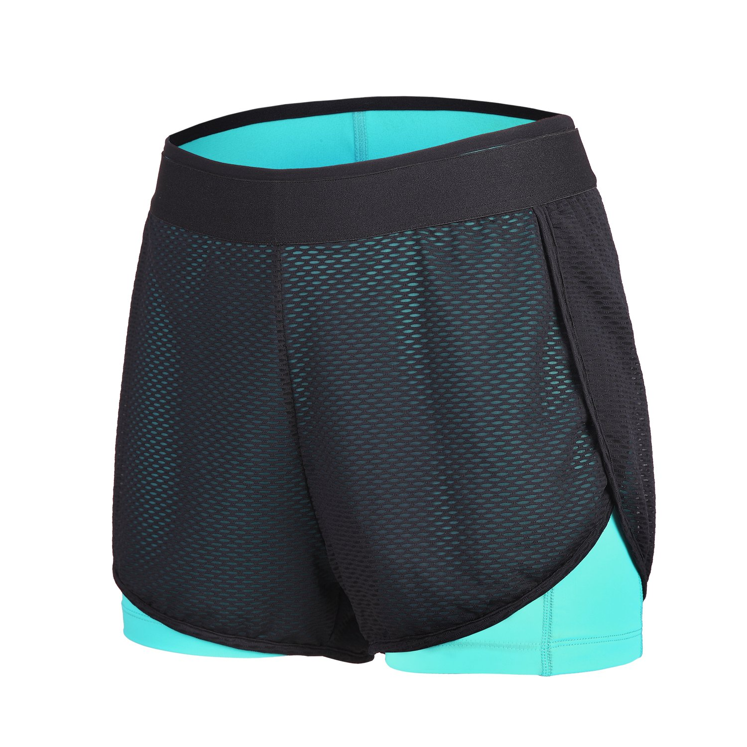 bluee beroy Women's MidRise Active Compression Mesh 2 in 1 Training Running Shorts
