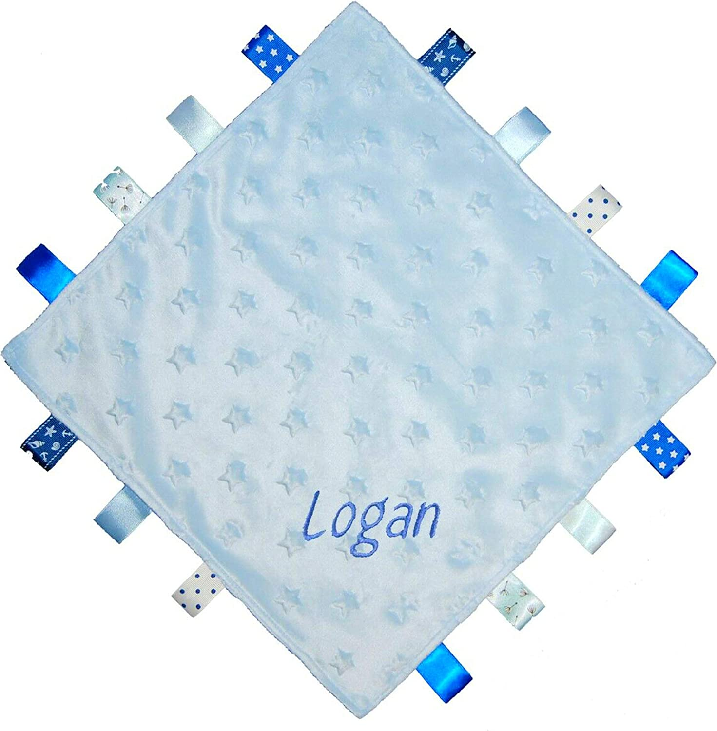 Blue Taggy Baby Boy Girl Personalised Blanket Embroidered Name Pink Blue