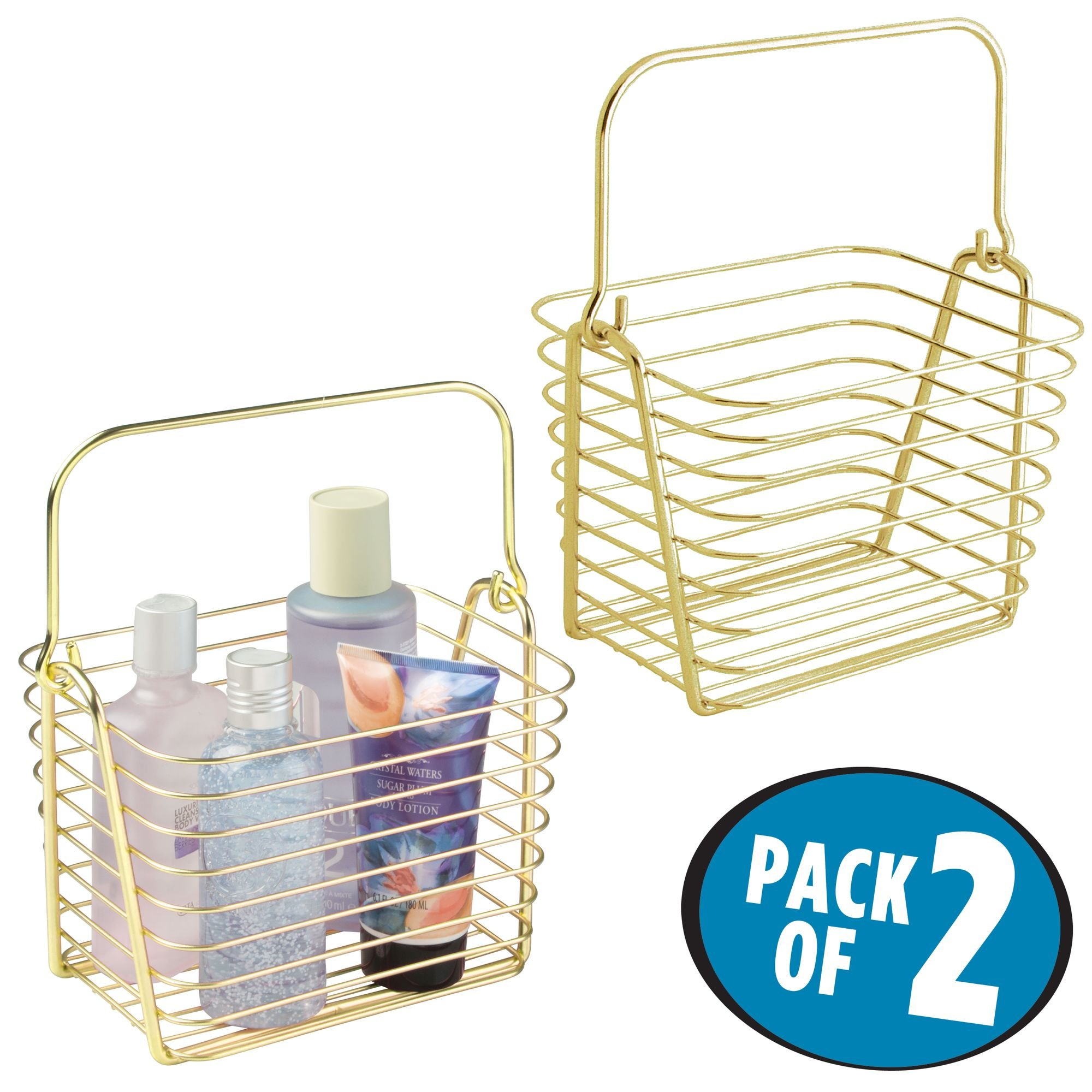 mDesign Storage Basket Bin with Built-in Handle, Caddy for Organizing Hand Soaps, Body Wash, Shampoos, Lotion, Conditioners, Hand Towels, Hair Accessories, Body Spray - Small, Pack of 2, Gold/Brass