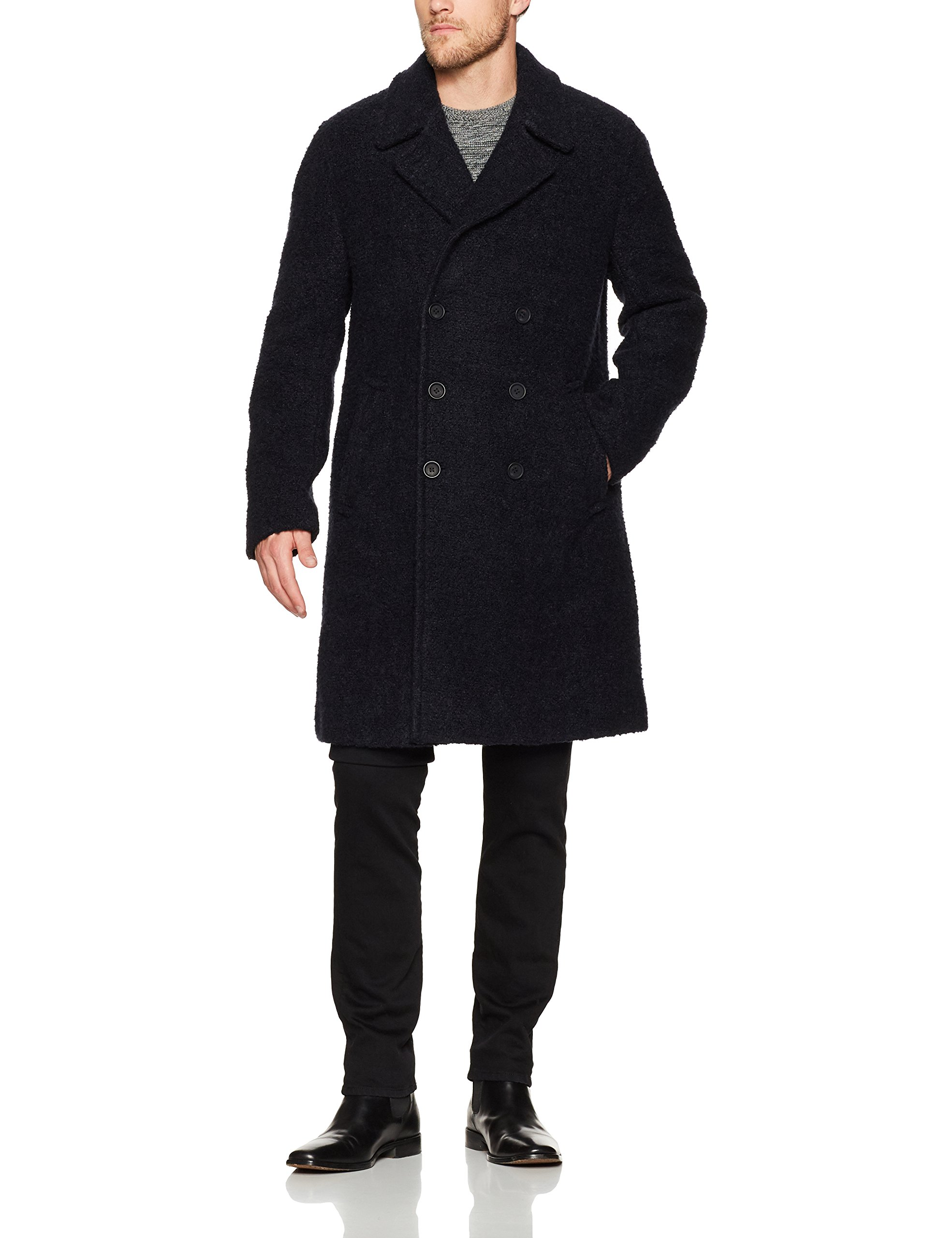 French Connection Men's Boucle Collared Long Coat, Marine Blue, L