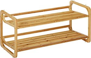 Home Basics 2 Tier Bamboo Rack Tower Shelf Organizer   Free Standing Home Storage   Durable Heavy-Duty Shelves Fits 6 Pairs Entryway and Shoe Closet, Light Brown