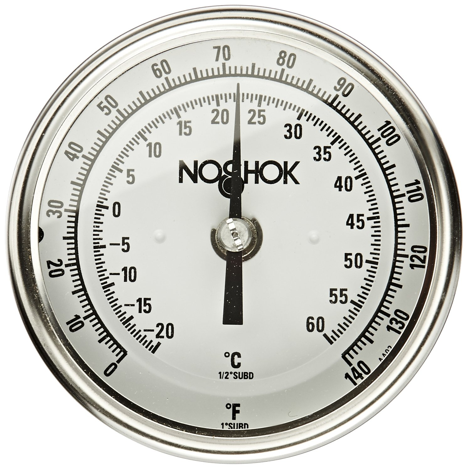 NOSHOK 300 Series 304 Stainless Steel Instrument Type Dual Scale Bi Metal Thermometer with Adjustable Angle Mount, 2-1/2'' Stem, 1/2'' NPT Connection, 3'' Dial, 50-300 F Temperature Range