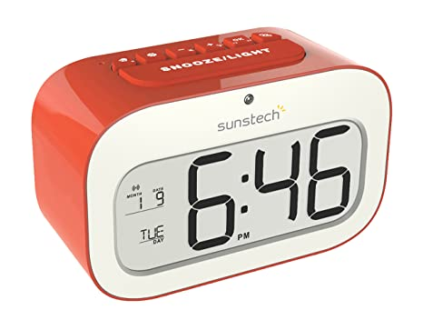 Sunstech CKD30RD - Despertador, con alarma y calendario, color rojo