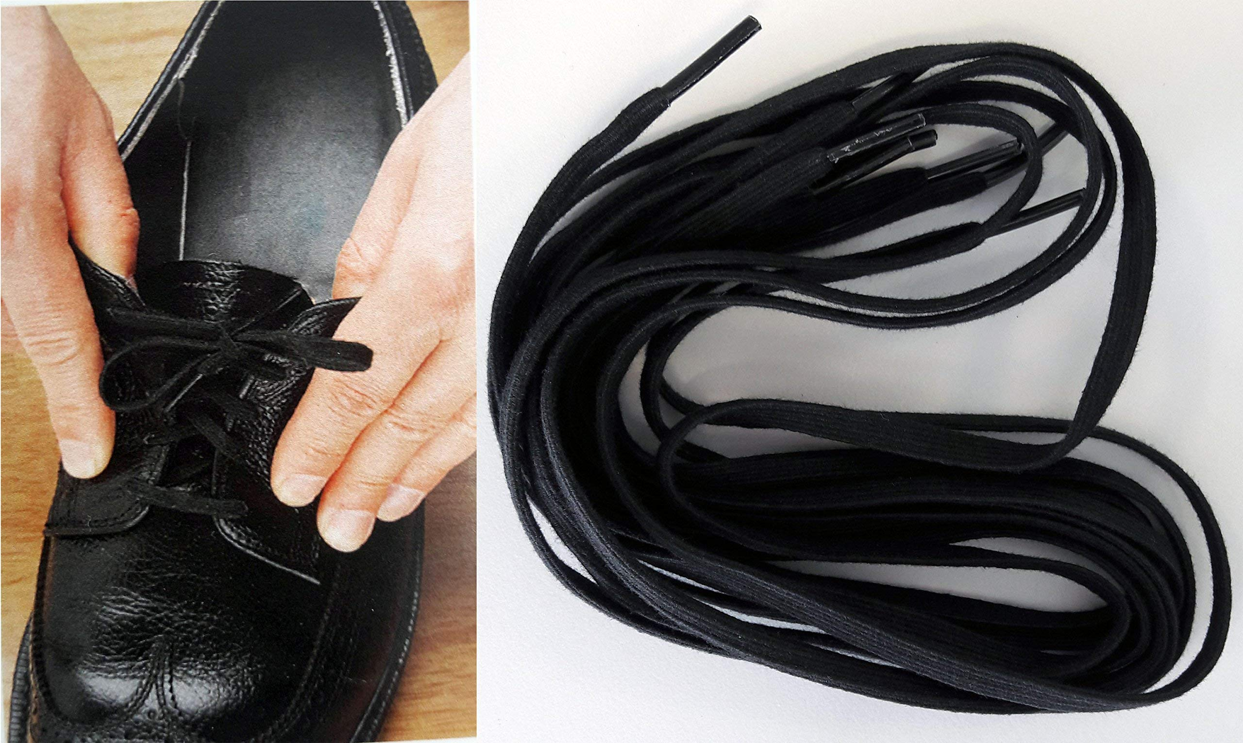 North Coast Medical NC28738 Deluxe Elastic Shoelaces Black 27 in. - 2 Pairs by North Coast Medical
