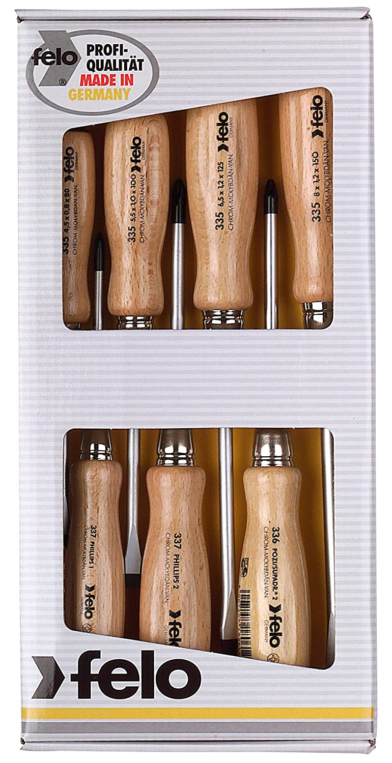 Set of 5 Felo 07157 22155 Slotted and Phillips Wood Handle Screwdrivers