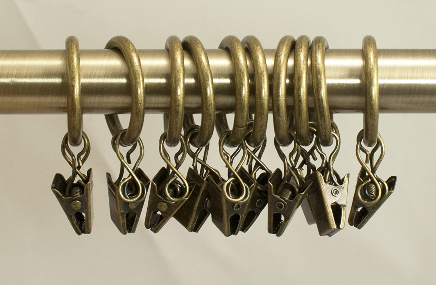 White curtain rings with clips - Amazon Com Urbanest Set Of 10 1 Inch Metal Curtain Rings With Clips And Eyelets Fits Up To 3 4 Inch Rod Antique Brass Home Kitchen