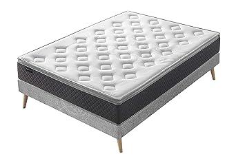 BOBOCHIC PARIS® Colchón Fraicheur-160x200x26 cm. Triple tecnologia Muelles Ensacados & Látex y