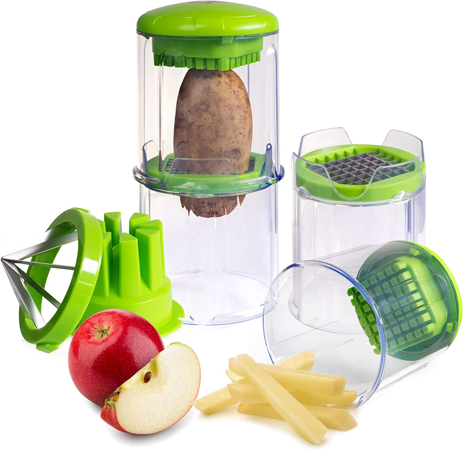 EZFries 2.0 French Fry Vegetable Cutter Virtually Unbreakable with Super Sharp Stainless Steel Blades, Crisp Perfect Cuts. Slices Tomatoes, Cucumber, Onion. BONUS Apple Slicer, Easy Clean & Storage