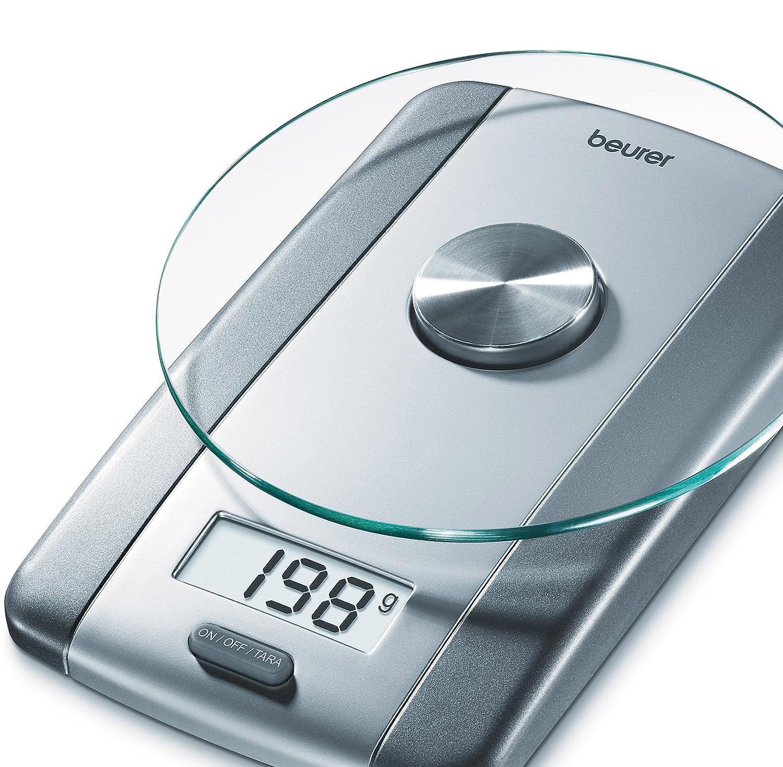 Beurer KS 38 Glas-Küchenwaage, Tara-Zuwiegefunktion, bis 5 kg ...