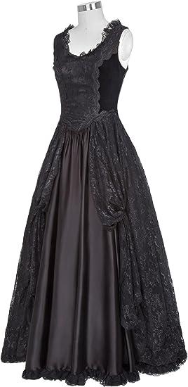 Women Steampunk Gothic Victorian Long Maxi Dress