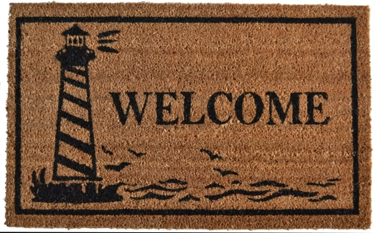 Imports D cor Vinyl Backed Coir Doormat, Guiding Light, 18 by 30-Inch