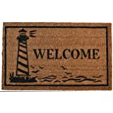 Imports Décor Vinyl Backed Coir Doormat, Guiding Light, 18 by 30-Inch