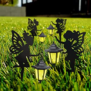 ANGMLN Fairy Hanging Lantern Solar Lights Outdoor, 4 Pack Fairies Carry Lanterns Metal Fairy Silhouette Light Garden Decorative Stake Ornaments for Lawn, Patio, Path, Front Porch, Flowerbed, Yard