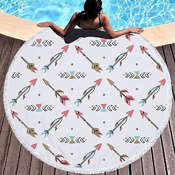 Redondo microfibra toalla de playa atrapasueños plumas hippie bohemio playa Toallas Toalla de playa playa manta Toalla Grande 150 cm 2: Amazon.es: Hogar