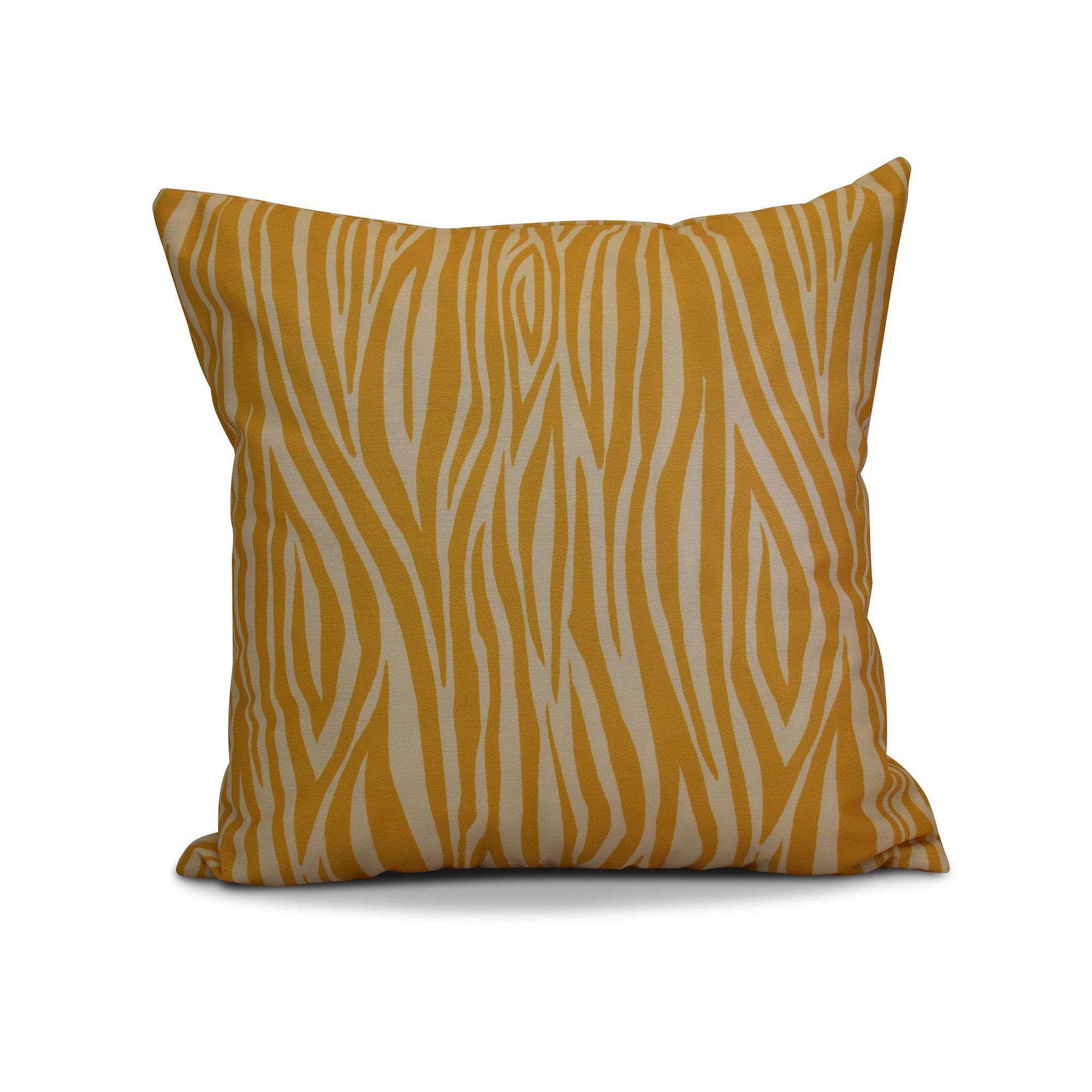 E by design 20 x 20-inch, Wood Stripe, Geometric Print Pillow, Gold