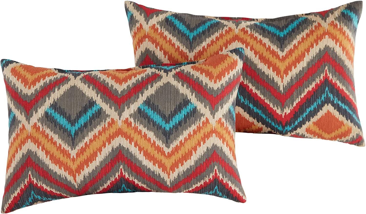 South Pine Porch Outdoor Surreal Chevron 19x12-inch Rectangle Accent Pillow, Set of 2