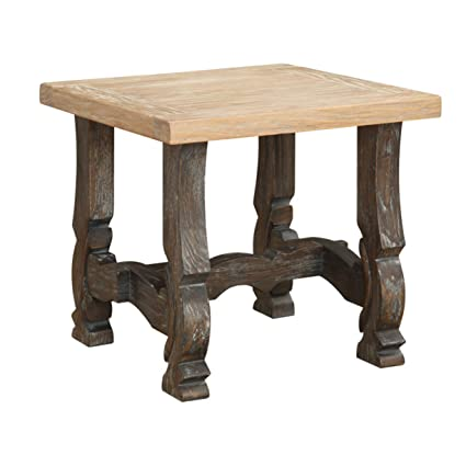 Emerald Home Barcelona Rustic Pine And Dark Brown End Table With Plank  Style Top And Carved