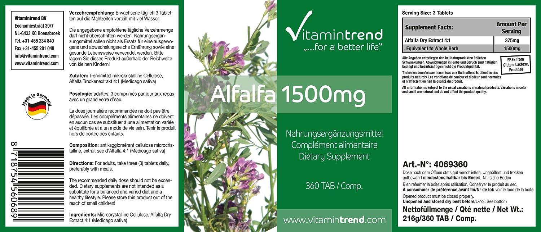 extracto de alfalfa natural - tabletas para la energía y para la desacidificación: Amazon.es: Salud y cuidado personal