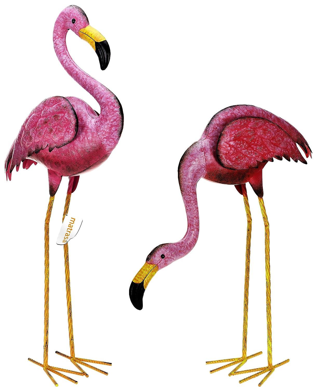 matrasa Flamingos aus Metall Flamingopaar Flamingo Figuren Gartendeko Tierfigur
