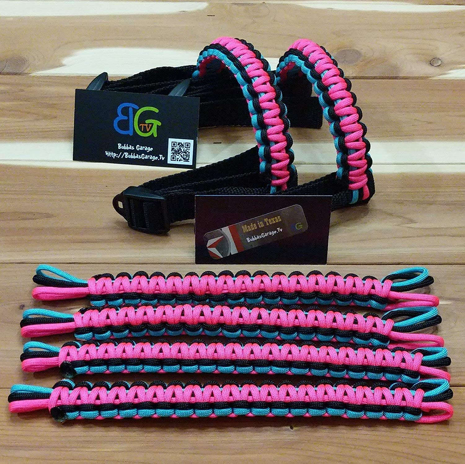 Paracord Jeep Wrangler Grab Handles - Turquoise/Black & Hot Pink - Pick your pairs