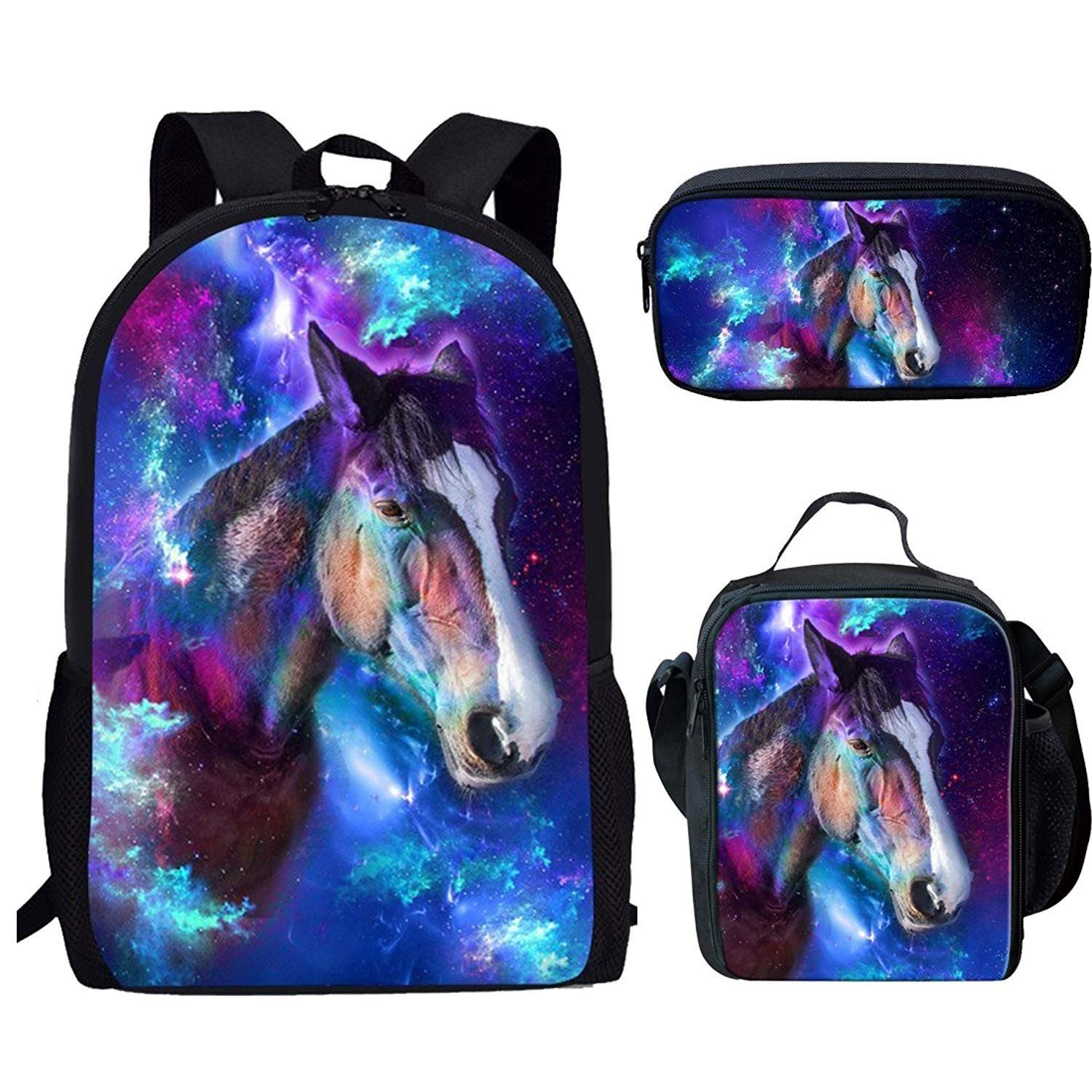 3dbd837a6c7c HUGS IDEA Galaxy Horse Backpack Set for Teen Boys School Book Bag with  Thermal Lunchbag Pencil Case