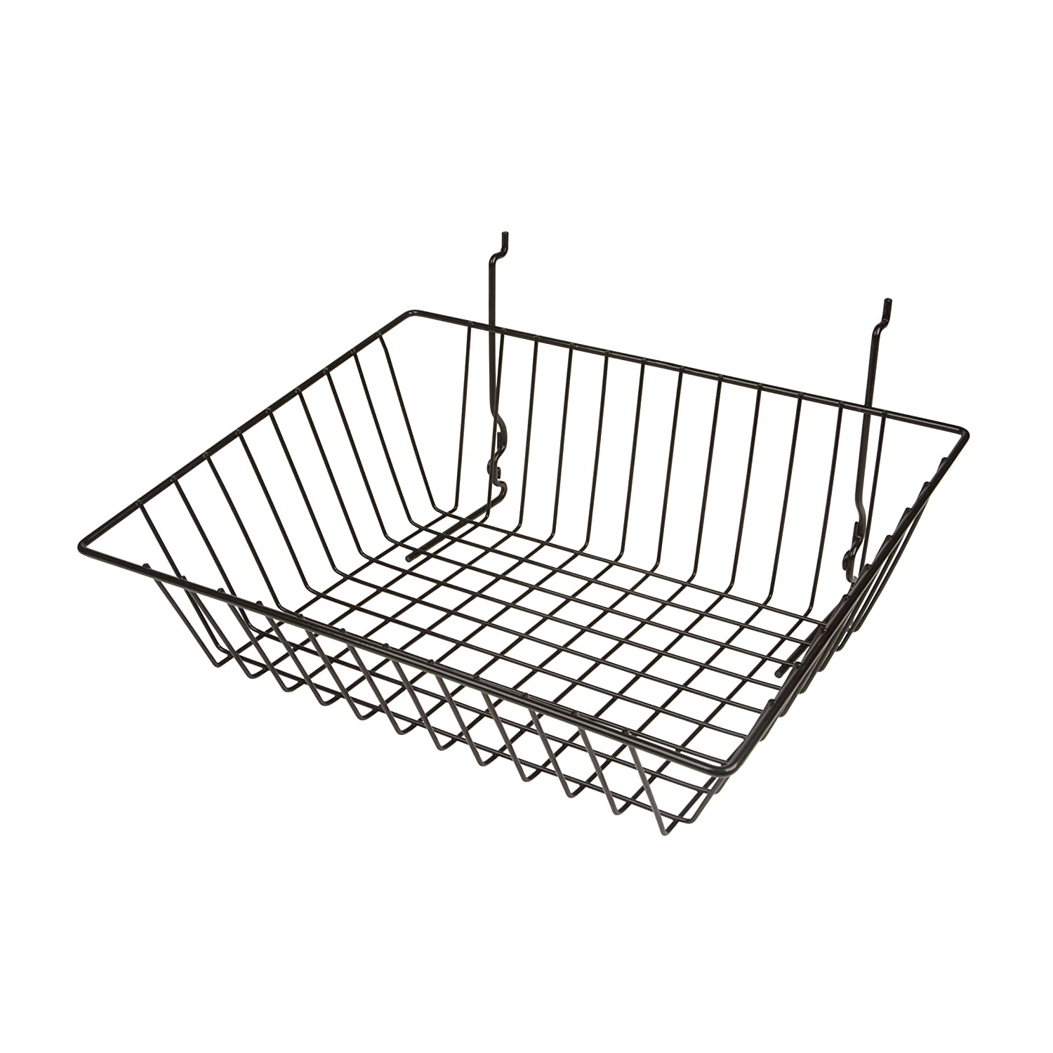 Set of 5 Wire Basket for Slatwall Gridwall or Pegboard 12W x 12D x 4H Small Black 5 Baskets