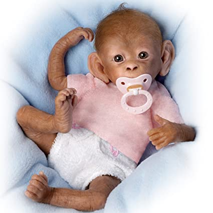 Coco So Truly Real® Lifelike, Realistic Newborn Baby Monkey Doll 16-inches  by The Ashton-Drake Galleries