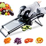 Mandoline Slicer with Protective Gloves -VEKAYA, Slice Julienne for Cheese Carrot Potato Chip Onion French Fry, Efficient Kit