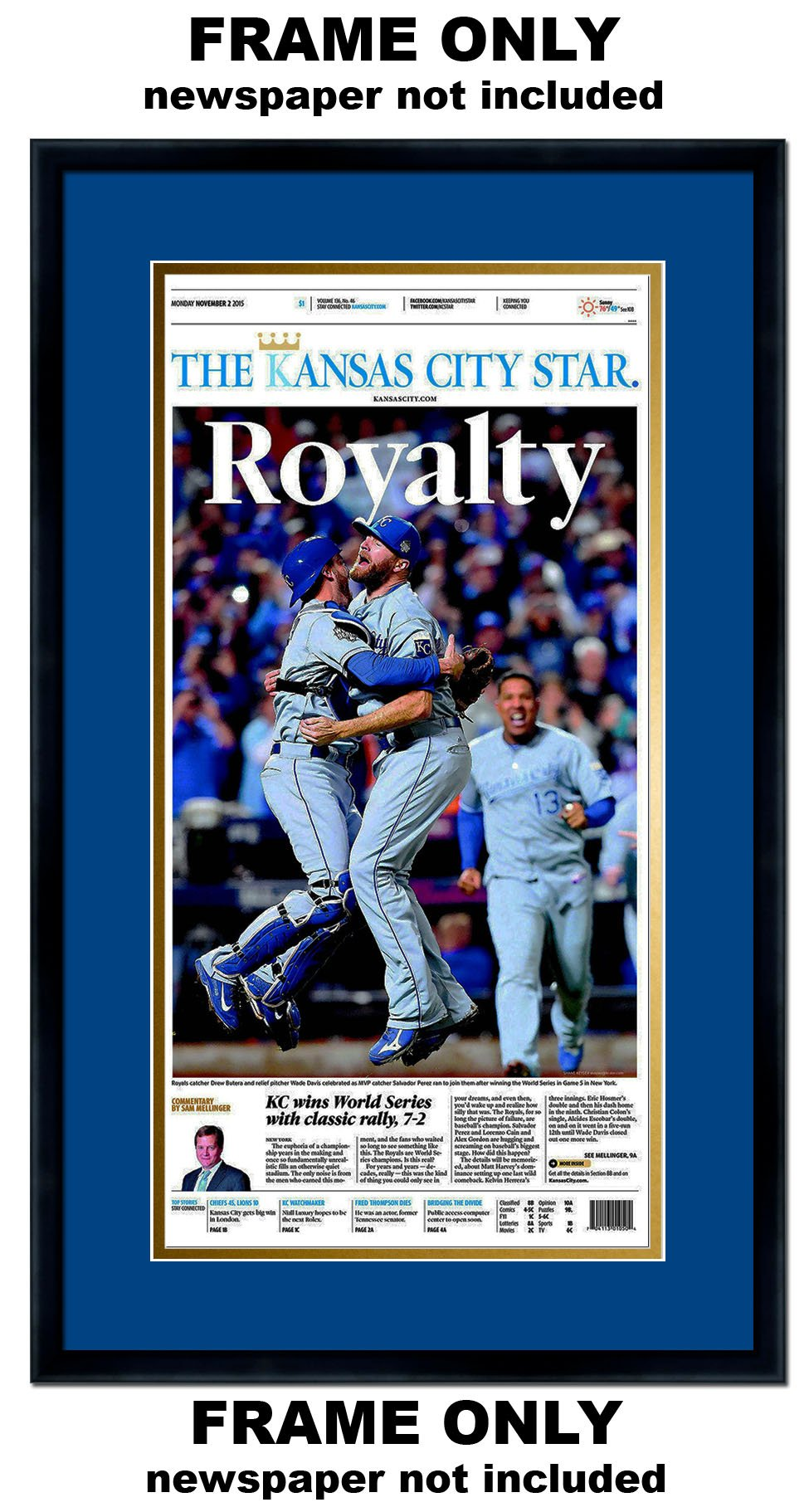 The Kansas City Star Newspaper Frame - with Kansas City Royals Colors Double Mat by The Kansas City Star