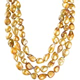 "9-10mm Baroque Cultured Freshwater Pearl Necklace Palette Pure 60"" Endless Strand"