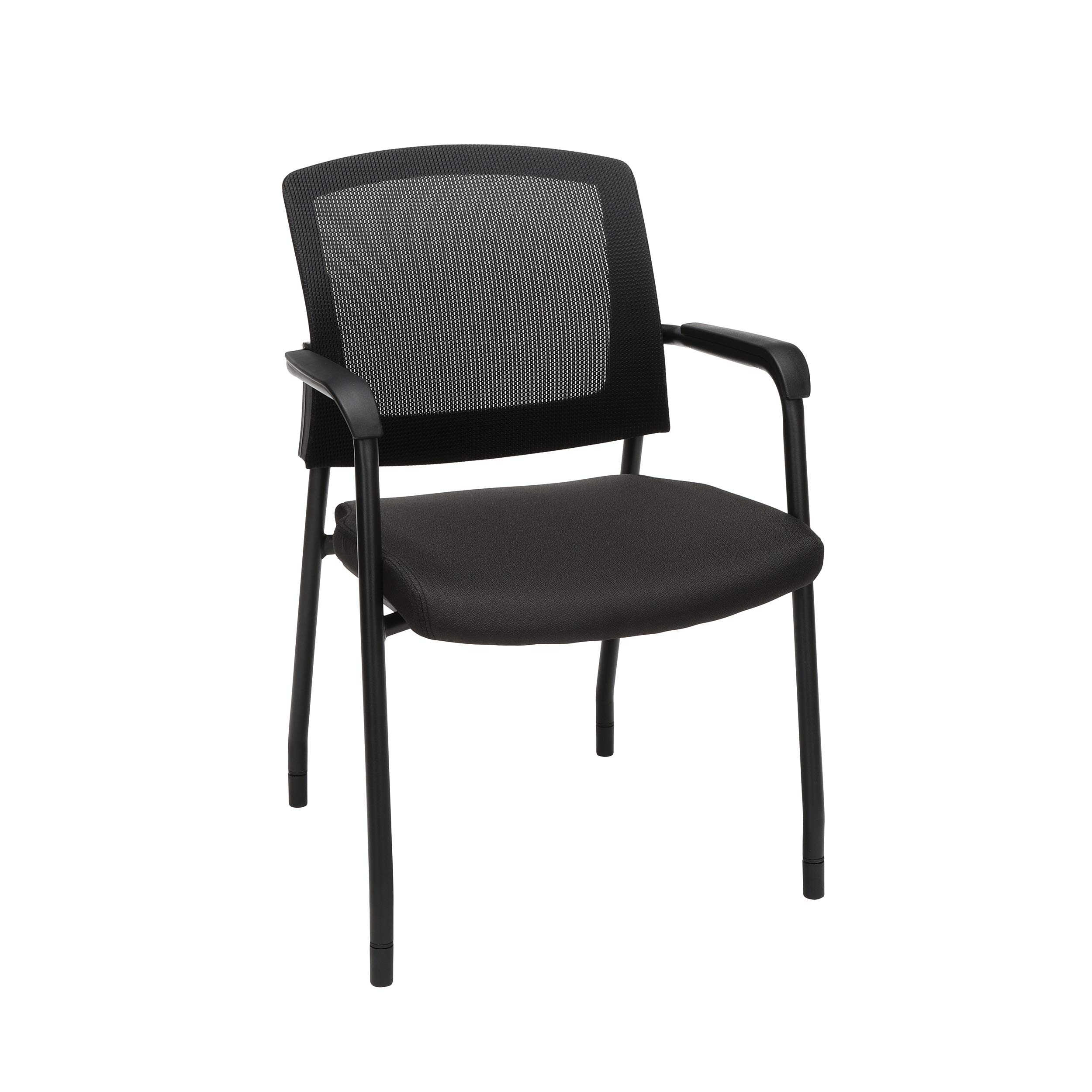 OFM 424-805 Model 424 Mesh Chair Guest/Reception Chair with Arms, 33.25'' Height, 22.5'' Wide, 24'' Length, Trim, Black Leg