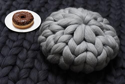 EASTSURE Chunky Knit Pillow Arm Knitting Throw Hand Knitted Cushion Wool Decorative Round Twist Grey