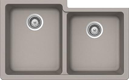 SCHOCK ALIN175YU042 ALIVE Series CRISTALITE 60/40 Undermount Double Bowl  Kitchen Sink, Concrete