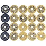 Youz 50pcs Fengshui Fortune Chinese Coins Lucky Swaps Feng Shui Coin Swaps for Geocache Geocaching Swaps Antique Metal