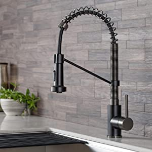 Kraus KPF-1610MBSB Bolden 18-Inch Commercial Kitchen Faucet with Dual Function Pull-Down Sprayhead in all-Brite Finish, Matte Black/Black Stainless Steel